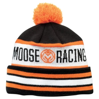 A Pletená zimní čepice MOOSE RACING DRIFT BLACK/ORANGE/WHITE